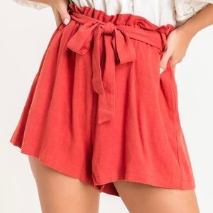 NWT Lush Red Linen Paperbag Shorts